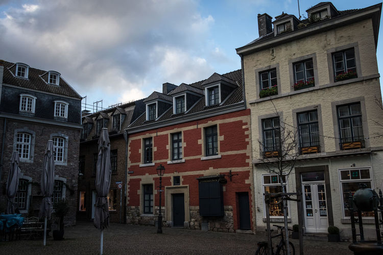 Aachen, Germany Aachen Germany Deutschland Building Exterior Architecture Built Structure Sky Cloud - Sky Window Building City Residential District Street Incidental People Day Outdoors Group Of People Town People City Life