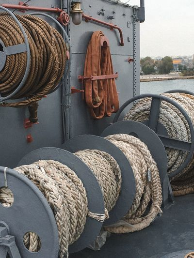 Stack of ropes in harbor