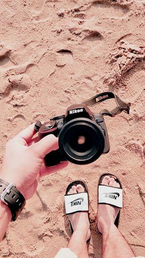 Photographer Nikon Beach Photographing Outdoors Camera - Photographic Equipment Sand Vacations Digital Single-lens Reflex Camera