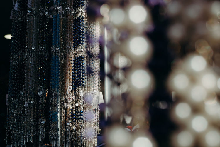 Sanctity Cross Rosary Bokeh Colors Close-up For Sale Stall Display Collection Market Stall