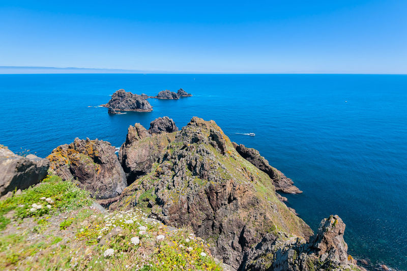 Marine landscape Sea Scenics - Nature Beauty In Nature Horizon Over Water Water Horizon Tranquil Scene Rock Tranquility Blue Sky Rock Formation Idyllic Nature Land Day No People Outdoors Formation Eroded Rocky Coastline Galicia SPAIN Cape Ortega