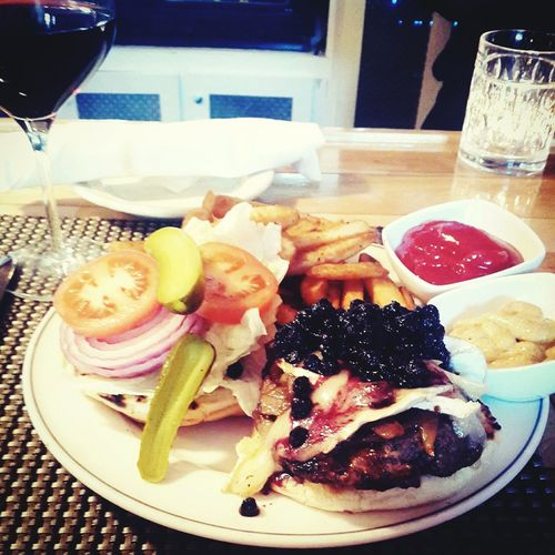 Food Porn Awards Brie and blueberries burger with pinot noir for lunch LoveFood Art Colorinyourlife Colorinyourplate