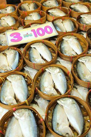 Mackerels Mackerel Fish Mackerel In Bamboo Basket Mackerel On The Stall ใน Thailand
