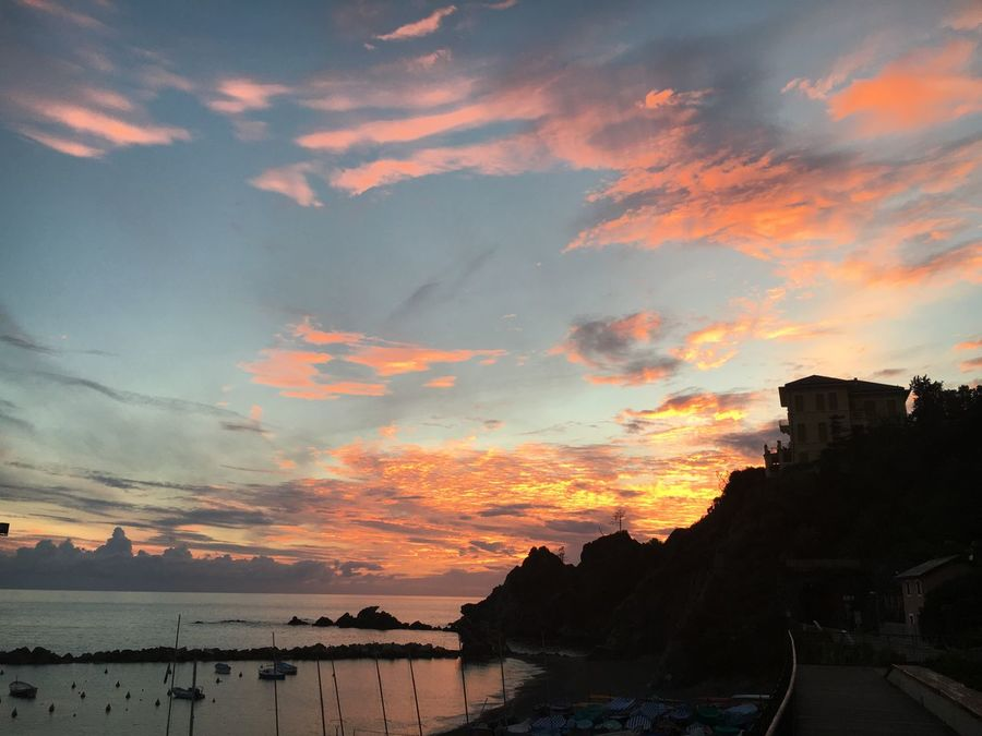Levanto Sky Sunset Sea Water Beauty In Nature Nature Building Exterior Architecture Outdoors Built Structure Cloud - Sky No People Scenics Day cinque terre Italy