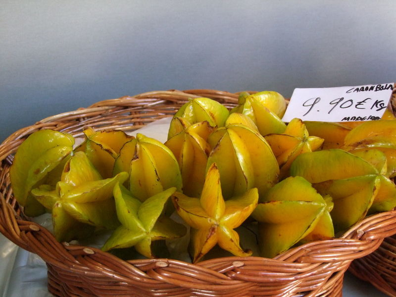 Star Fruit, Mercado dos Lavradores Composition Funchal Madeira Madeira Island Market Portugal Price Tag Star Fruit  Yellow Colour Basket Close-up Food Food And Drink Freshness Fruit Fruits Full Frame Healthy Eating High Angle View Indoor Photography Market Stall No People Tropical Fruit Whicker Yellow