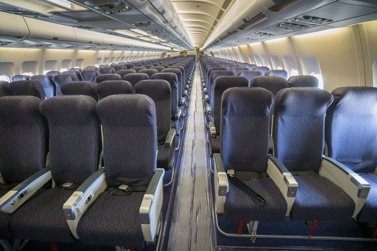 View of empty seats in airplane
