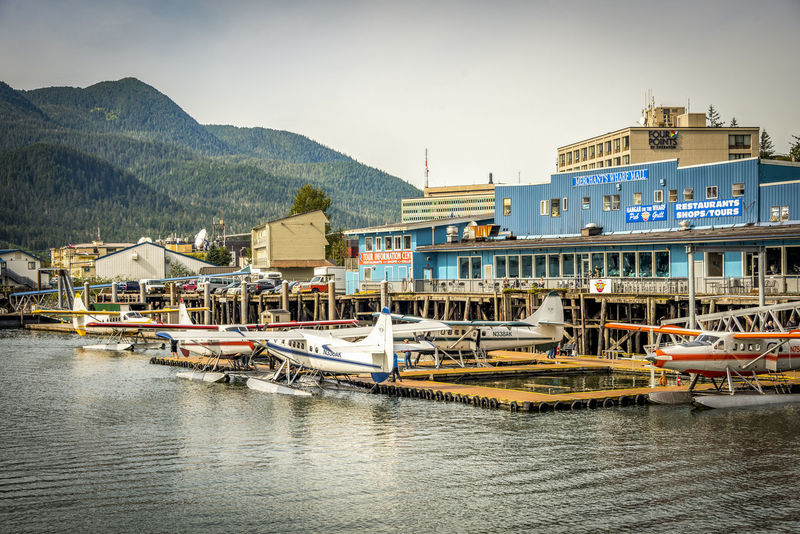 Juneau, Alaska port and city with cruise ship and seaplane port just next to the city center Juneau City Center Juneau, AK Alaska Plane Wing Prop Plane Sea Port Small Plane Travel Backgrounds Travel Destinations Vacation Background