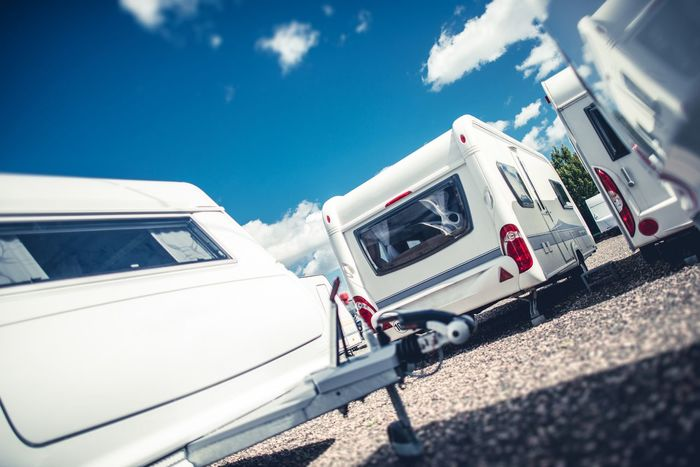 Travel Trailers Sales. Brand New and Pre Owned Travel Trailer Campers For Sale. Business Industry Rving Day Land Vehicle Mode Of Transport Nature No People Outdoors Rv Sky Summer Sunlight Transportation Travel Trailer Vacation