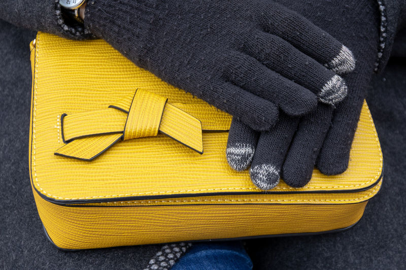 Yellow Winter Glove Sweater Close-up One Person Human Body Part Clothing Human Hand Warm Clothing High Angle View Textile