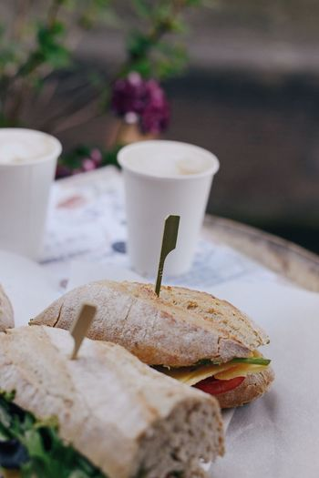 Snack Time! Lunch Sandwich Food And Drink Food Freshness Table Still Life No People Close-up Bread Cup Sandwich Ready-to-eat