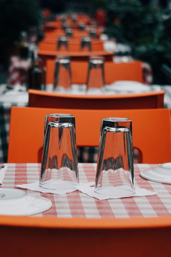 Glasses On Table At Cafe