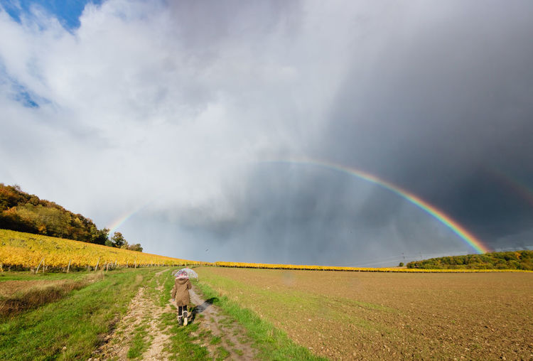 View of rainbow against cloudy sky