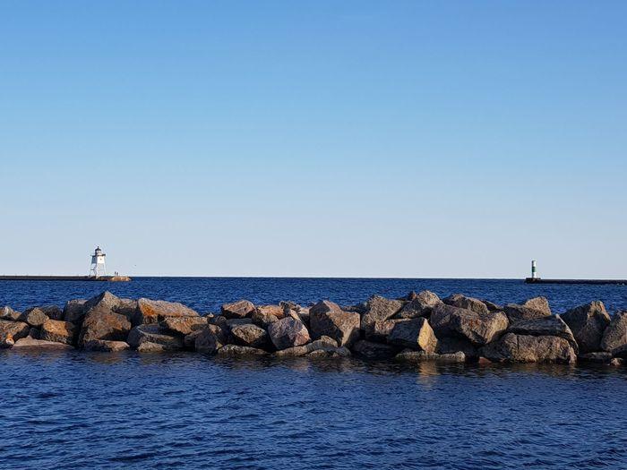 Lighthouse Flyingirltraveling Outdoors Roadtrip Water Sea Clear Sky Sea Life Blue Sky