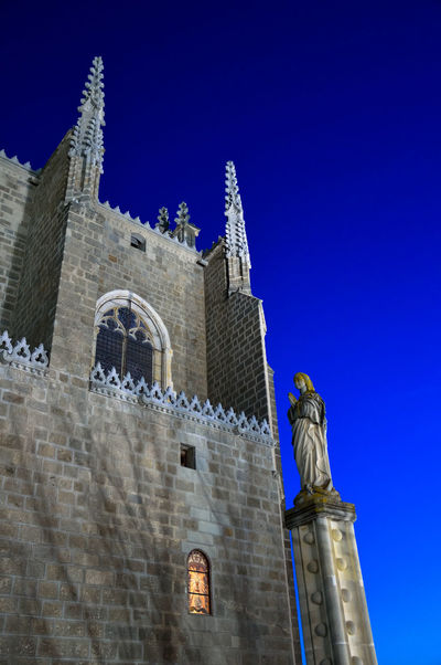 Monastery Medieval Architecture Statue Virgin Mary Lights At Dusk Catholic Kings Religious Architecture Toledo