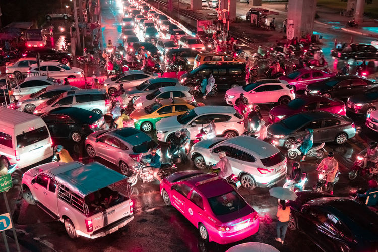 High angle view of crowd on street at night