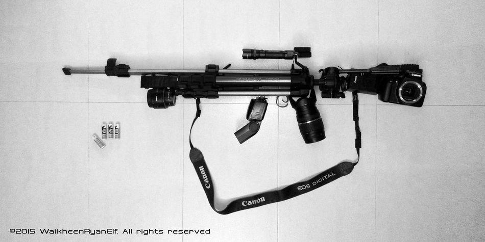 Cr. waikheenRyanElf Canon Sniper Rifle Gun Weapon Camera Tripod Tamron Velbon EOS