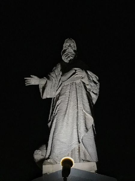 Statue Human Representation Sculpture Art And Craft Male Likeness Low Angle View Female Likeness Night No People Outdoors Clear Sky Sky ManaoagChurch Basilica Of Manaoag Building Exterior Built Structure