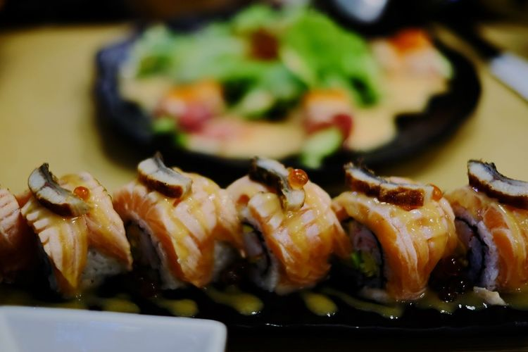 Food Food And Drink Healthy Eating Freshness Japanese Food Fish Ready-to-eat No People Healthy Lifestyle Close-up Sushi Gourmet Dilicious Dilicious Time Dilicious Food Salmon Sushi