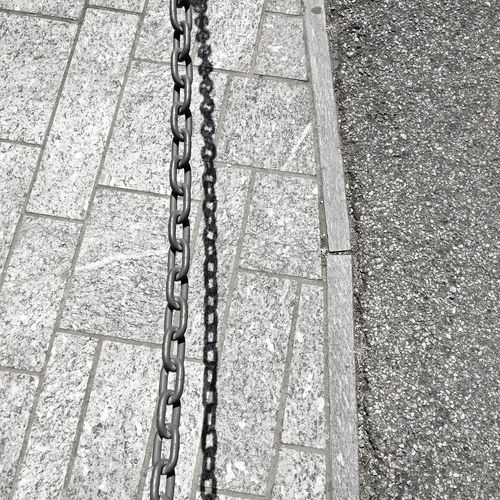 Hot Hot Day Textured  Absence Almost Black&white Chain City Close-up Day Footpath High Angle View Materials Metal No People Pattern Road Shadow Street Strength Sunlight