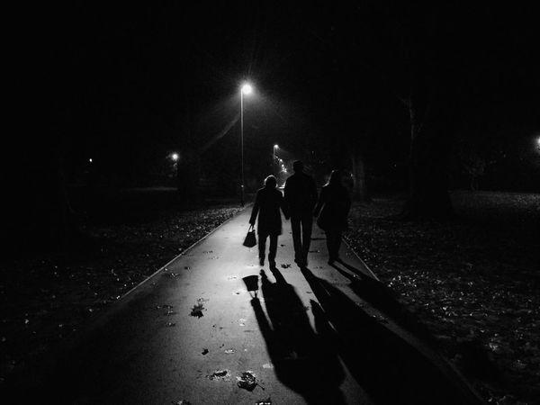 Walking through a quiet, misty park Walking Around Blackandwhite Spooky Longshadows