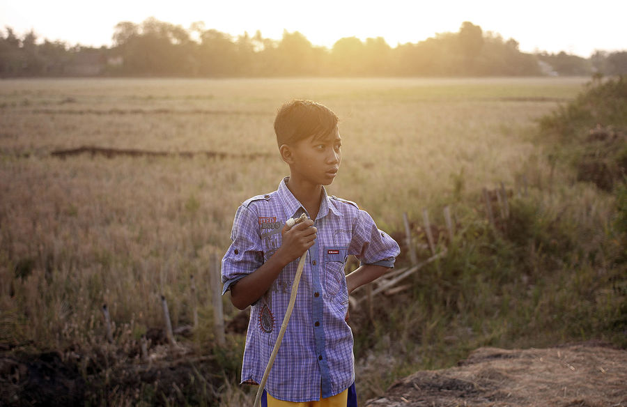 Paddy Field Beauty In Nature Boys Casual Clothing Child Childhood Day Elementary Age Field Focus On Foreground Landscape Lifestyles Nature One Boy Only One Person Outdoors People Real People Rural Scene Sky Standing Sunset