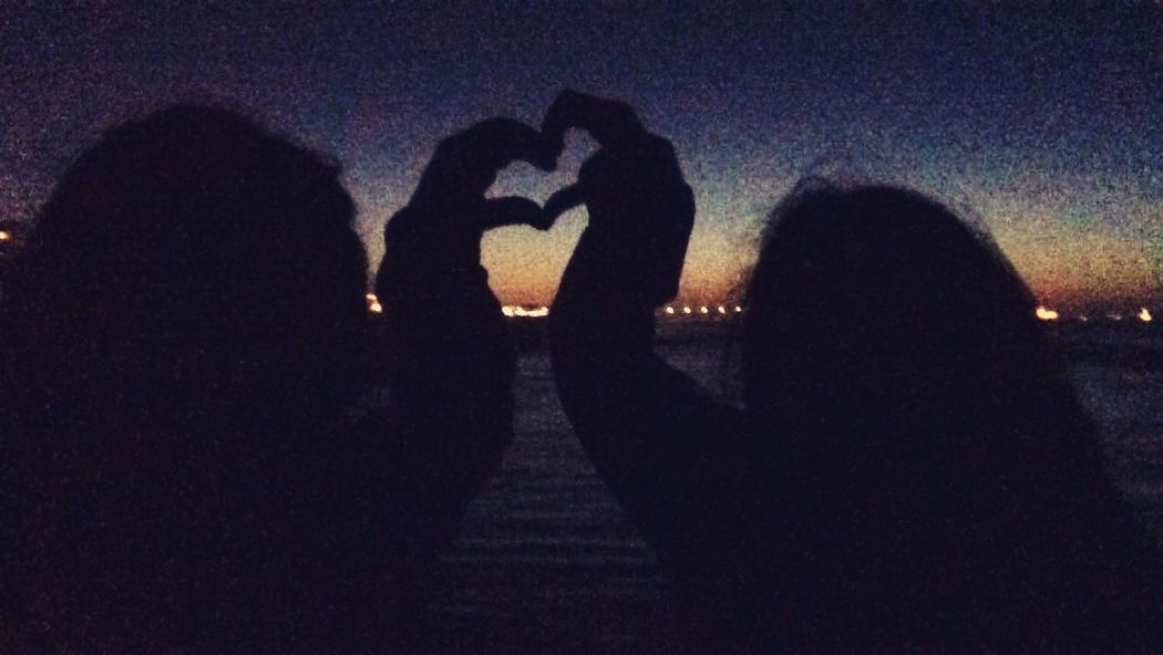 love is all you need Love Togetherness Heart Shape Real People Silhouette Night Two People Women Bonding Friendship People Close-up Press For Progress