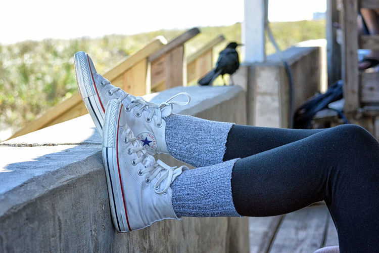 Low section of woman wearing canvas shoes on railing