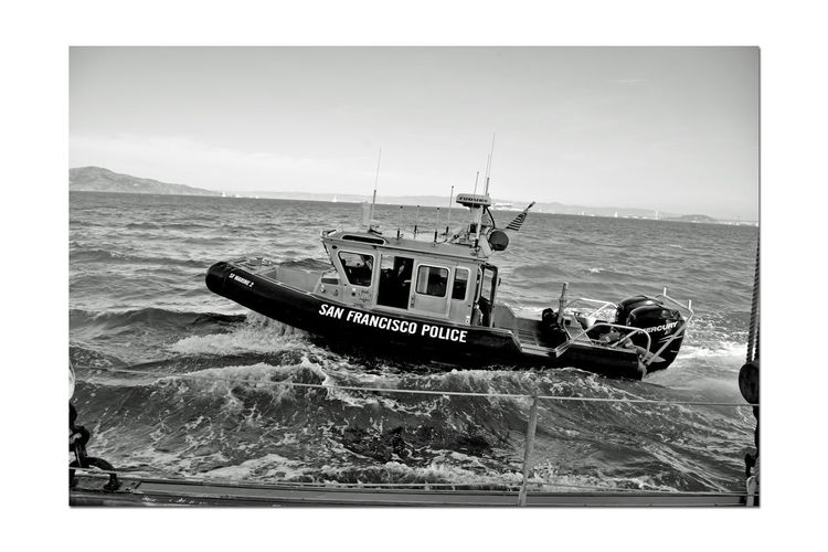 Sailing Aboard The Alma 1 Scow Schooner Built 1891 Wooden-hulled Flat-bottomed 80 Ft. The Alma Sailing San Francisco Bay Scenic San Francisco Poilce Department Patrol Boat Rescue Boat Alongside The Alma Choppy Water Bnw_friday_eyeemchallenge Bnw_water Monochrome_Photography Monochrome Black & White Black & White Photography Black And White Black And White Collection  Yerba Buena Island Sailboats