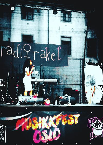 'SOUND OF MUSIC' Oslo 2018 Norwegian Artist Rakel Electric Guitar Arts Culture And Entertainment Text Street Art Music Concert Popular Music Concert Stage Light Stage - Performance Space Audience Live Event Music Festival Information Written