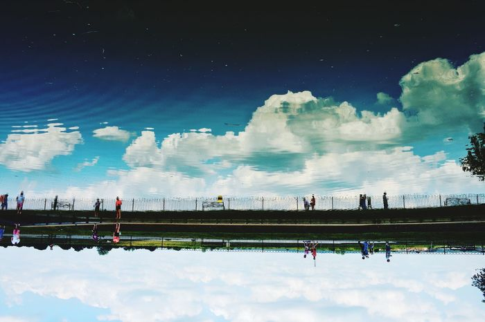 Upside down Sky Cloud - Sky Water Reflection Architecture Built Structure Day Outdoors Blue Building Exterior Nature Swimming Pool No People Sommergefühle