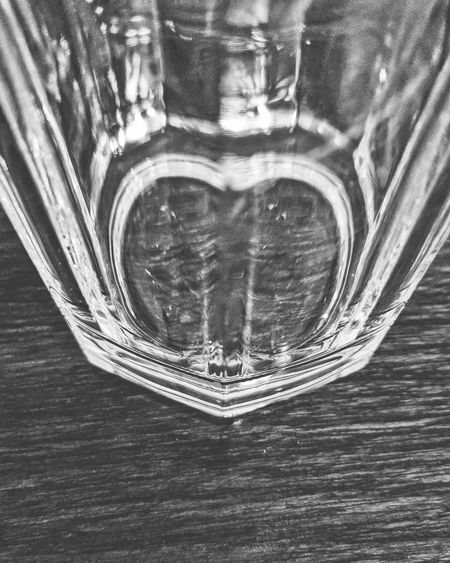 Glass bottom forming a Heart ♥ Nexus6P HDR Nexus6pphotography Blackandwhite Blackandwhite Photography Macro Close-up Indoors  Table No People Day