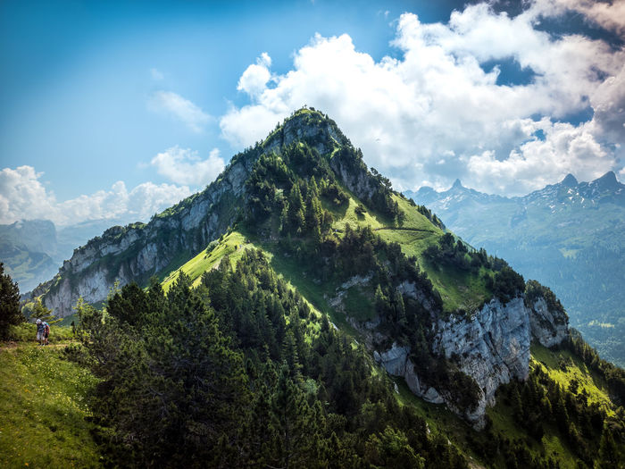 Beauty In Nature Cloud - Sky Day Environment Green Color Idyllic Land Landscape Mountain Mountain Peak Mountain Range Nature No People Non-urban Scene Outdoors Plant Scenics - Nature Sky Stoos Switzerland Tranquil Scene Tranquility Tree