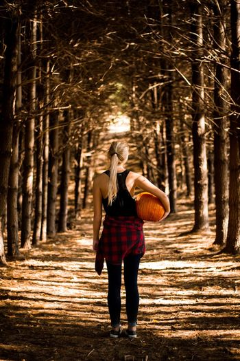 Fall love Tree People One Person Pumpkin Fall Outdoors Woman Enjoy The New Normal Portrait Portrait Of A Woman Passion Women Blond Hair Rear View Tranquility