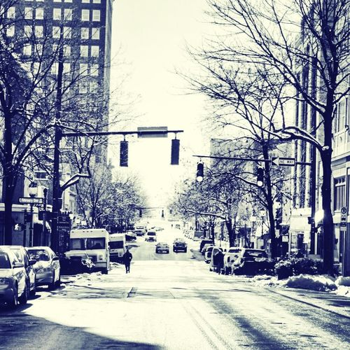 Day after first snow downtown greensboro