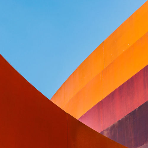 Architecture Built Structure Copy Space Sky Blue Building Exterior No People Clear Sky Day Low Angle View Wall - Building Feature Orange Color Multi Colored Nature Outdoors Red Full Frame Building Sunlight Pattern