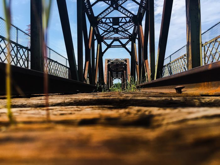 #eyeemoftheweek #EyeEm Best Shots #EyeEmNewHere Architecture Bridge Built Structure Bridge - Man Made Structure Connection Nature Sky No People Metal Sunlight Day Transportation Outdoors Focus On Background Surface Level Architectural Column The Way Forward Shadow Water Diminishing Perspective
