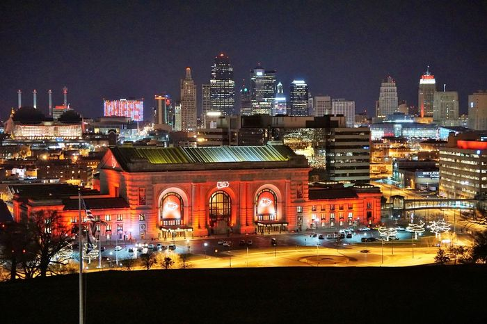 Architecture Building Exterior Built Structure Chiefs Chiefskingdom City Cityscape Clear Sky Illuminated Kansas City Modern Night No People Outdoors Sky Skyscraper Travel Destinations Union Station