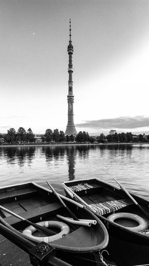 Ostankinsky pond, Moscow, Russia Relax Tourism Trip Waterfront Moscow Urban Nature Blackandwhite Boat Pond Tvtower Tower Ostankino Neweyeemhere Water Architecture Tower Built Structure Sky Nature Travel Destinations Travel Clear Sky No People City Tourism Building Exterior Day Outdoors Reflection