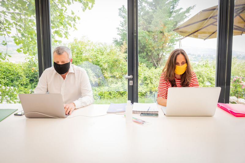 Business people wearing mask working at home sitting by window