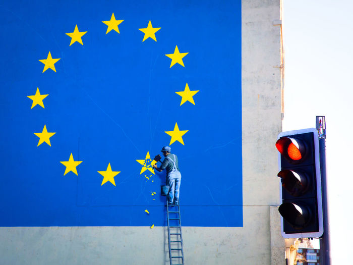 UK, Great Britain Stoplight Craftsman Yellow Stars Banksy Brexit European Flag Red Traffic Light Traffic Light  European Union Light Human Representation Building Exterior Road Signal Red Outdoors Built Structure No People Shape Sign Day Star Shape Blue Uk England Great Britain