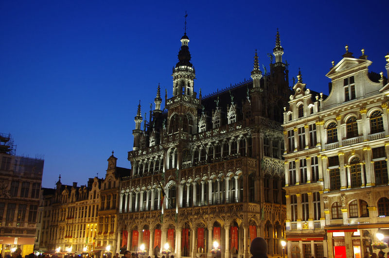 Grand Place Brussels Brussels Europe Capital Cities  Grand Place Grand Place Bruxelles Grand Place Brussels Building Exterior Built Structure Architecture Sky Travel Destinations Building Illuminated Low Angle View City Tourism Travel Nature The Past Clear Sky History Tower No People Night Tall - High Outdoors Government Spire