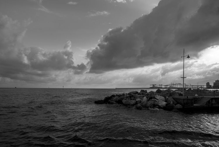 Genova Travel Beauty In Nature Black And White Blackandwhite Cloud - Sky Day Destination Horizon Over Water Italy Nature Nautical Vessel No People Outdoors Scenics Sea Sea And Sky Seascape Sky Tranquil Scene Tranquility Travel Destinations Water Waterfront Panasonic Lx100