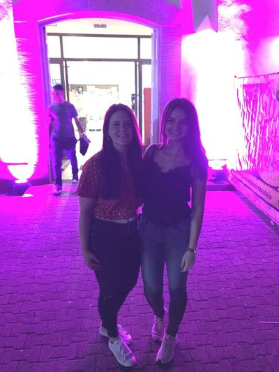 Illuminated Happiness Nightlife Nightclub Pink Color Portrait Purple Young Women Smiling City