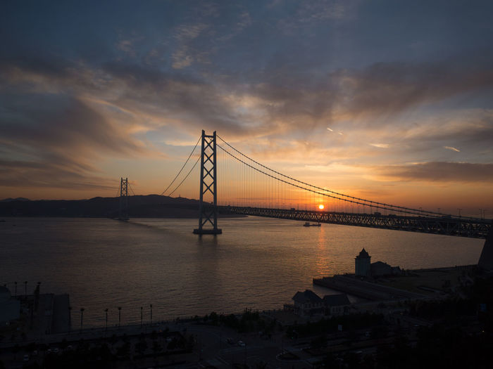 Akashi Kaikyo Bridge Akashi Kaikyo Bridge Japan Akashi Kaikyo Architecture Beauty In Nature Bridge Cloud - Sky Nature Sea Sky Sunset Suspension Bridge Transportation Water