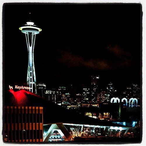 Seattle at Night. Insta_america Space_needle Architecture Night Sea Skyline City Travel Seattle Famous Key Landmark Washington Arena Spaceneedle Key_arena
