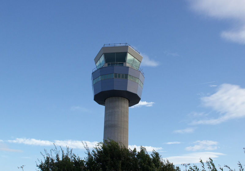 Man-made Structure Airport Travel Photography Tree Blue Sky And Clouds Air Traffic Control Tower