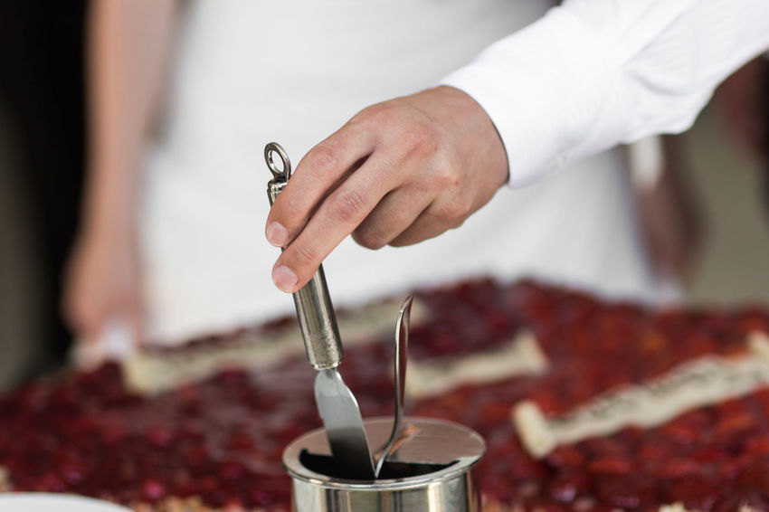 Knife Wedding Cake Close-up Day Food Food And Drink Freshness Holding Human Body Part Human Hand Indoors  Men One Person People Pouring Preparation  Real People Wedding Cake Working Be. Ready. Be. Ready.