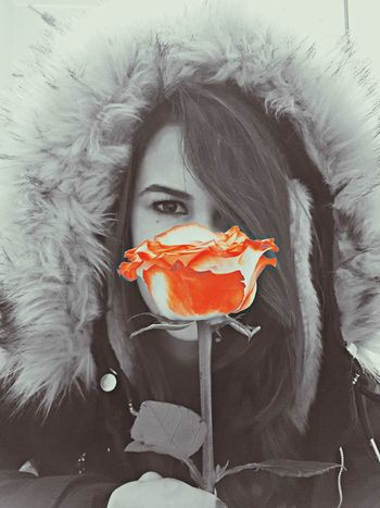 beautiful 🌹 Rose - Flower Roses Blackandwhite Ora Portrait Looking At Camera One Person People Adult Painted Image Indoors  Day Young Adult Young Women Shades Of Winter