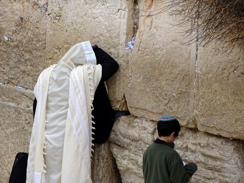 man and child praying at Kotel, Western Wall jerusalem Panorama Travel Destinations Dome Of The Rock Tempel Mount Orthodox Jews Western Wall Kotel Bar Mitzah Men Orthodox Jews Israel Wailing Wall Jerusalem Western Wall Of Jerusalem Bar Mitzvah Torah Praying