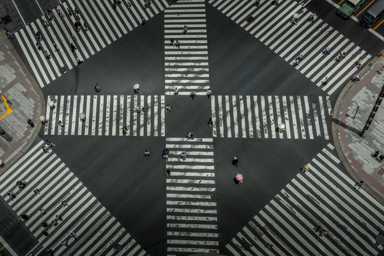 The world famous Ginza Crossing on a week day, Tokyo High Angle View Pattern Day Directly Above City Outdoors Road Marking Crosswalk Sign Sunlight Road Cross Section Crossing Crosswalk Crossroad People Pedestrian Pedestrian Crossing Tokyo Japan ASIA Umbrella City Life Urban Urbanphotography